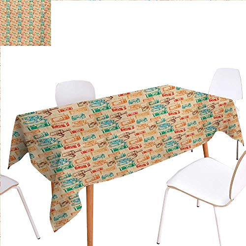 (familytaste Vintage Patterned Tablecloth Retro Camera Radio TV and Cassette Colorful Illustration Old School Media Devices Dust-Proof Oblong Tablecloth 50