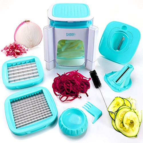 Heavy Duty Onion & Vegetable Chopper |Fruit, Cheese & Veggies | Stainless Steel 4 Blade Multi Veggie Chopper Mandolin Slicer Dicer & Spiralizer | With Easy Press Down Motion Quick Chopping (Turquoise) by SHOOF