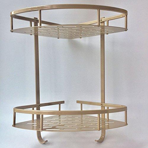 Bathroom Shelf-ANJUU Home Hook Shower Storage ( No Drilling ) Double layers Wall Shelf Corner Shelf Basket for Towels, Soap, Shampoo, Lotion, Accessories, Gold Tone (Lotion Soap Triangle)