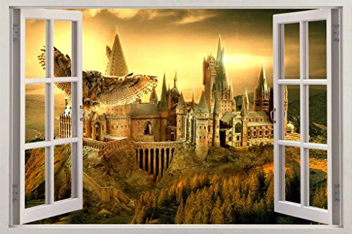 Hogwarts Harry Potter Owl 3D Window View Decal Graphic WALL STICKER Art Mural H321, Mega