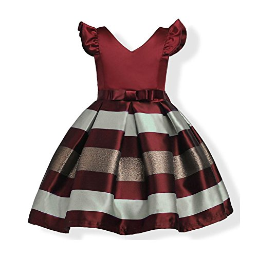 WeeH Girl Dress Gown Party Wedding Ruffles Dresses Ring Bearer Princess Dress Raspberry 6-8 -