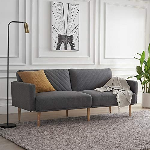Mopio Chloe Convertible Futon Couch Bed, Fabric Tufted Modern Sofa Sleeper with Tapered Wood Legs, 69 W, Perfect Suit for Your Living Room, Dark Gray