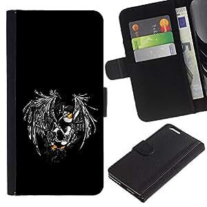 KLONGSHOP / Tirón de la caja Cartera de cuero con ranuras para tarjetas - Cool Funny Flying Penguin - Apple iPhone 6 PLUS 5.5
