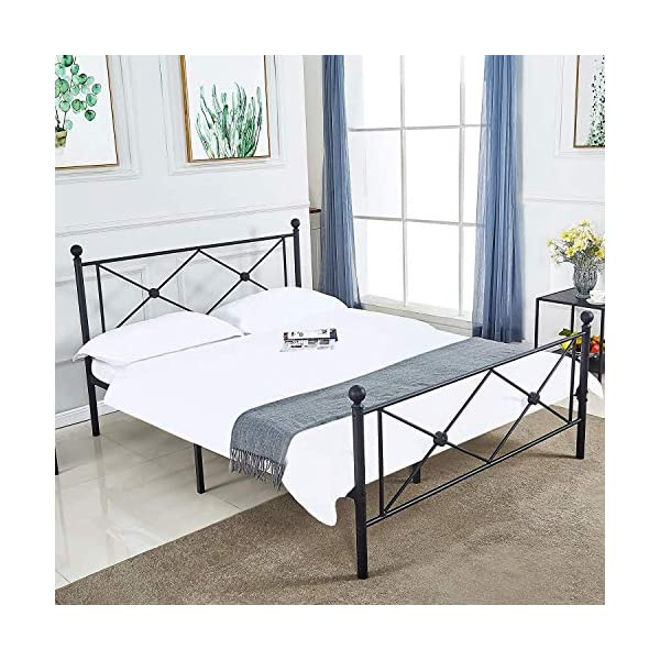 Queen Bed Frame, Platform Metal Bed Frame Foundation Queen Size with Headboard and Footboard 1