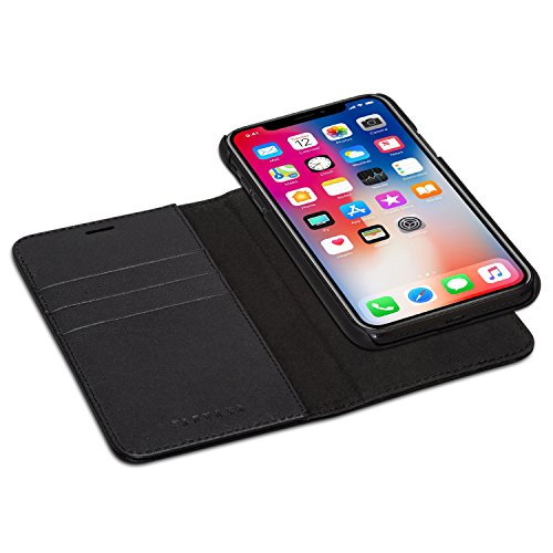iPhone X Detachable Wallet Case Black - KANVASA Premium Genuine Leather 2 in 1 Flip Folio Book Magnetic Cover for the Original iPhone X / iPhone 10 (5.8