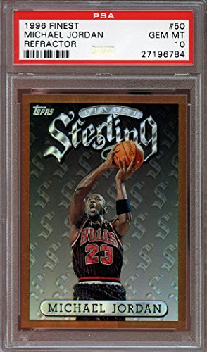 1996-97 finest refractor #50 MICHAEL JORDAN chicago bulls (POP 4) PSA 10 Graded Card (Finest 1996 Refractor)