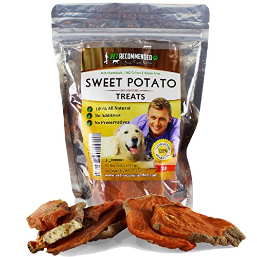 Sweet Potato Dog Treats Chews - 100% Natural Healthy Grain Free Dry Dog Food - 1 LB Bag by Vet Recommended (Sweet Treet)