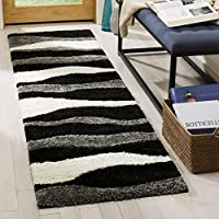 Safavieh Florida Shag Collection SG475-8090 Black and Ivory Runner (23 x 8)