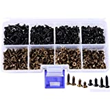 Mini Skater 800Pcs M3 Cross Flat Head Tapping Wood Screws with Oxide and Wax 4 Size Screws Assortment Kit (Black&Bronze,800pcs)