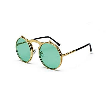 QDE Gafas de sol Gafas De Sol Redondas para Hombres De ...
