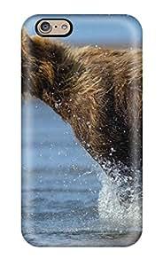 DanRobertse Iphone 6 Well-designed Hard Case Cover Bear Animal Predator Wildlife Rivers Drops Splash Spray Protector(3D PC Soft Case)