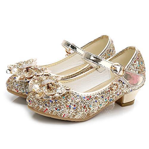 Waloka Glitter Girls Princess Shoes Size 9 Cosplay Flower Toddler Girl High Heel Shoes Gold 9 Girls Wedding Girl Party Dress Shoes 3 Yr Little Kids Girl Cute Sequin Gold02 26 ()