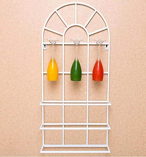 - Wall Mount Wine Rack Metal Semicircle Door Crafts Dining Room Bar Interior Decorations, White