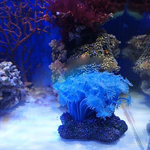 KrisGiftStore Blue Aquarium Plastic Coral Soft Flower Fish Tank Ornament Plant Decoration 1xPcs Set
