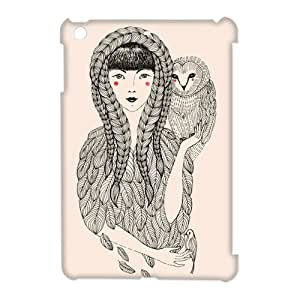 Retro Owl stands on the Girl's shoulder Ipad Cartoon Cover, Custom Personalized Snap On Owl Ipad mini Case