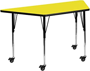Flash Furniture Mobile 25''W x 45''L Trapezoid Yellow HP Laminate Activity Table - Standard Height Adjustable Legs