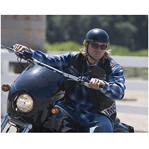 Sons of Anarchy (TV Series 2008 - 2014) 8 inch x 10 inch PHOTOGRAPH Charlie Hunnum Riding Bike Wearing Helmet & Sunglasses Turning Bike Left Pose 1 - Celebrity 2014 Sunglasses