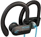 POOME Wireless Bluetooth Headphones HD Stereo Noise Cancelling Wireless Earbuds Waterproof IPx7 Earphones with Mic Secure-Fit Headset Running Headphones for Workout Sport Gift for Men Women (black)