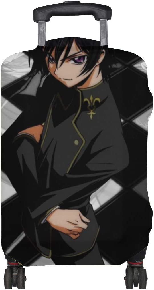 Maxm Code Geass Lelouch Lamperouge Boy Brunette Pose Pattern Print Travel Luggage Protector Baggage Suitcase Cover Fits 18-21 Inch Luggage
