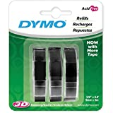 "DYMO Labeller Tape, Glossy Vinyl Embossing Tape 3/8"" x 9.8', Box of 3, Black (1741670)"