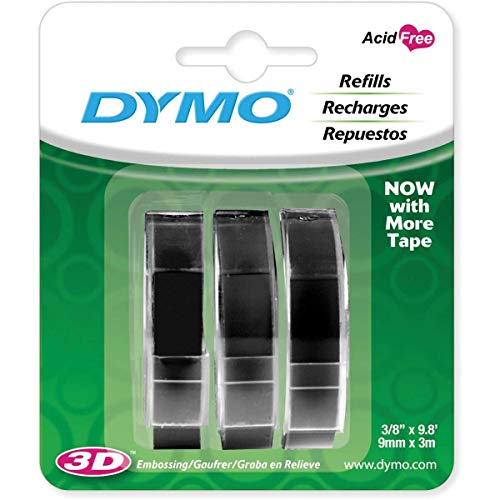DYMO 3D Plastic Embossing Labels for Embossing Label Makers, White Print on Black, 3/8