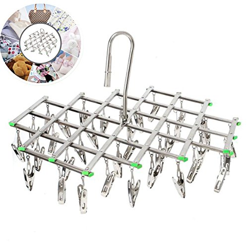 Folding Clothes Hanging Drying Rack with 35 Clips, Stainless