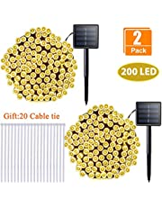 Sunlane 2 Pack Solar String Lights 72ft 22m 200 LED 8 Modes Solar Powered Outdoor Lighting Waterproof Christmas Fairy Lights for Xmas Tree Garden Homes Ambiance Wedding Lawn Party Decor