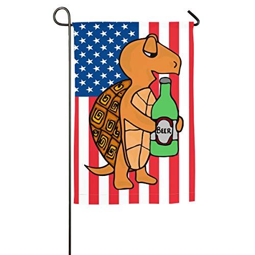 Turtle Drinking Beer Garden Flag Single Sided All Seasons & Holidays Flags For Lawn & Yard Decor (Best Sherry For Drinking)