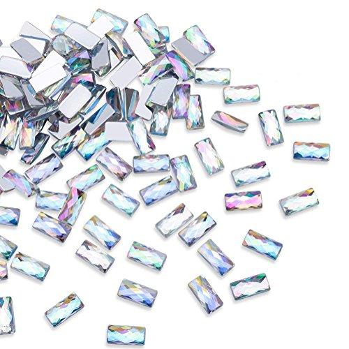 1000Pcs AB Crystal Rhinestones, Rectangle Flatbacks Rhinestones Clear Hot Fix Rhinestones for DIY Crafts, Nail Art, Clothes, Bag, Shoes, Jewelry Wedding Decorations (10mm) ()