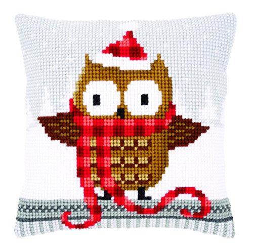 Chunky Cross Stitch - Vervaco Owl in Santa Hat Chunky Cross Stitch Cushion Panel Kit