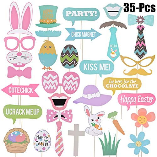 IYANG Easter Photo Props,35 PCS DIY Easter Photo Booth Props Kit,Easter Photographing Dress-up Accessories Gifts for Easter Party Supply and Birthday Party Favors ()