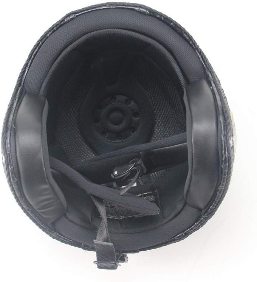 MRDEER Retro Motorradhelm Vintage Crocodile Textur Handgemachtes PU-Leder Integralhelm Helm Unisex Full-face Scooter-Helm Roller Sturz-Helm mit Visier Maske M,L,XL,XXL Brille