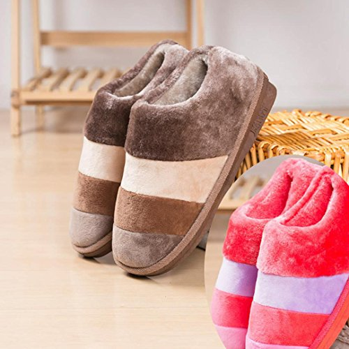 LaxBa Femmes Hommes Chaussures Slipper antiglisse intérieur Mens café+La fille rouge pastèque 36/37+44/45