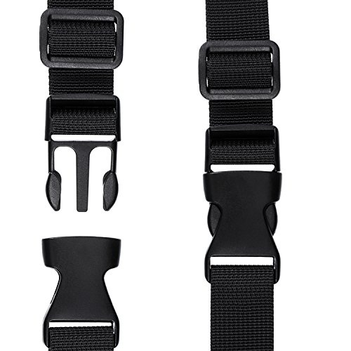 Black 25 mm Shappy 20 Pack Flat Side Quick Release Plastic Buckles and 20 Pack Tri-Glide Adjustment Clips for 1 Inch Strap