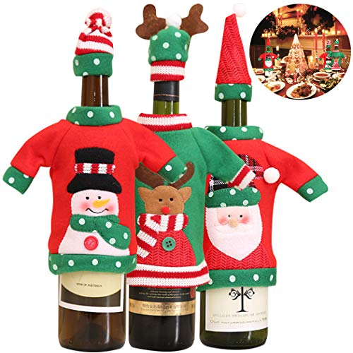 Wine Bottle Cover,Justdolife 6PCS Christmas Bottle Covers Ugly Sweater Wine Cover Santa Snowman Elk Bottle Hat Wine Bottle Cover for Xmas Party Kitchen Table Decor Hotel Bar
