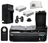 Battery Grip Kit for Canon Rebel T2i T3i T4i T5i Digital SLR Camera Includes 2 Replacement LP-E8 Batteries + Replacement Vertical Battery Grip + AC/DC Rapid Charger + Wireless IR Remote Control Shutter Release & Microfiber Cleaning Cloth