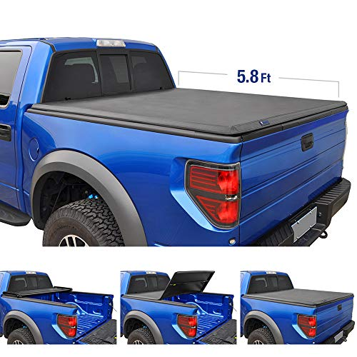 Gmc Sierra Accessories - Tyger Auto T3 Tri-Fold Truck Bed Tonneau Cover TG-BC3C1006 Works with 2014-2019 Chevy Silverado/GMC Sierra 1500 | Fleetside 5.8' Bed | for Models Without Utility Track System