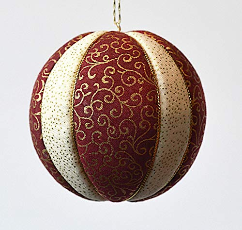 Christmas Ornament in Red, Ivory and Gold, Cotton Fabric, 3