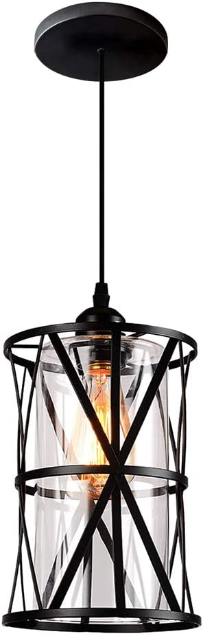 HMVPL Pendant Lighting Fixtures, Black Farmhouse Hanging Chandelier Lights with Glass Shade, Mini Industrial Ceiling Lamp for Kitchen Island Dining Room Over Sink Hallway Bedroom