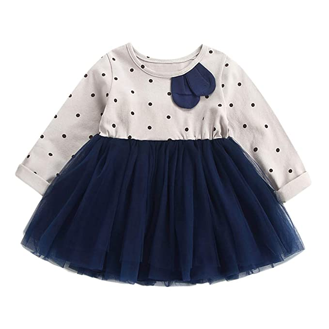 OPAKY Vestido de Encaje de Princesa Dot Patchwork Princesa de Toddler Kids para bebés Ropa para niños Vestidos Bebé Niña Floral Tutú Princesa Vestidos de ...