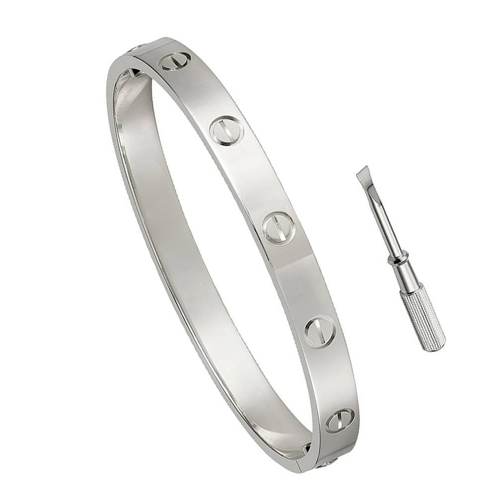 FHMZ Birthday Gift for Him Love Bracelet- Titanium Steel Screw Hinged Cuff Bangle Bracelet White Gold 7.5IN