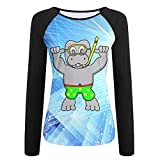Shirly-2 Hippo Learning To Swim Printing Cotton Round Neck Long Sleeves T Shirt