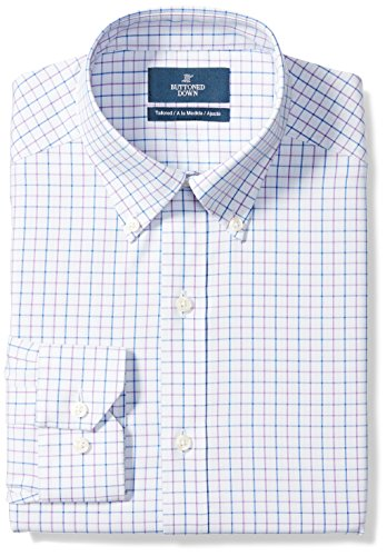 BUTTONED DOWN Men's Tailored Fit Button-Collar Pattern Non-Iron Dress Shirt, Grey/Purple/Blue Tattersall Check, 17