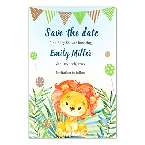 30 Save The Date Lion Cub Birthday Baby Shower Personalized Photo Paper -