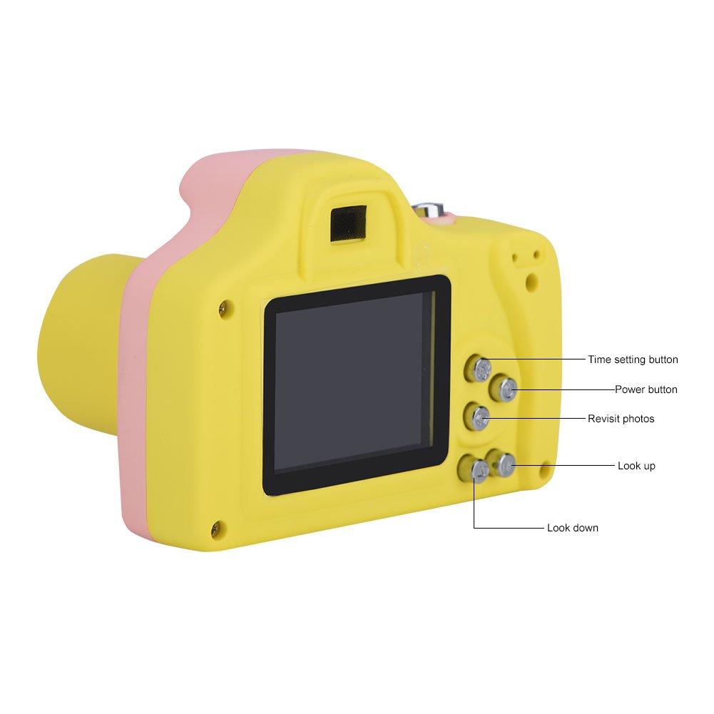 Richer-R Mini Digital Camera, Kids Mini Digital Camera Children Toys Gift Cartoon Cute Camera with 5in LCD Display(Pink)
