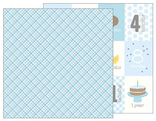 American Crafts Baby Boy Plaid 25 Pack of 12 x 12 Inch Patterned Paper, Piece ()