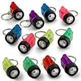 Kicko Mini Flashlight Keychains 1.5 Inch - 12 Pack Assorted Neon Colors - Small Key Ring Light for Bag and Belt Loop Accessory, Party Gifts and Events