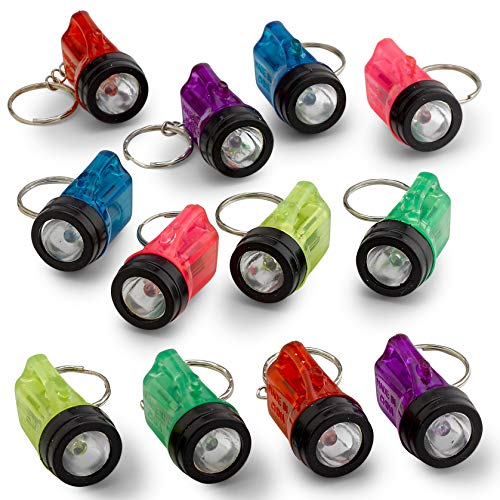 Kicko Mini Flashlight Keychains 1.5 Inch - 12 Pack Assorted Neon Colors - Small Key Ring Light for Bag and Belt Loop Accessory, Party Gifts and Events ()