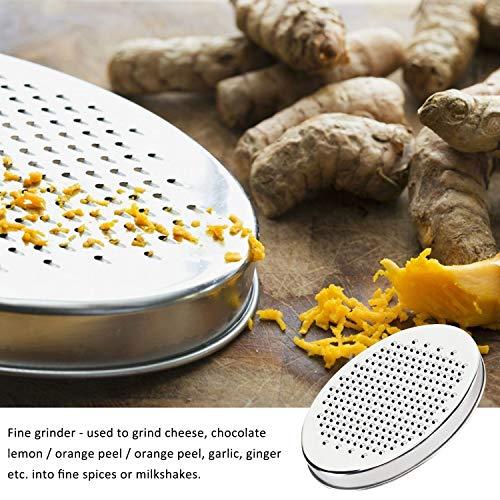 Cheese Grater Lemon Zester with Food Storage Container and Lid - Vegetable Chopper, Grinder Grater for Ginger & Vegetables, Box Grater (Black)