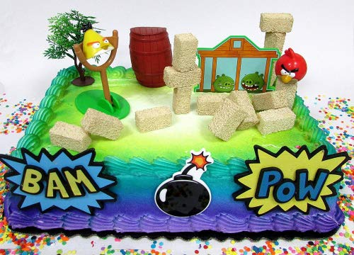 Cake Toppers Angry Birds Birthday Set Featuring Angry Birds Figures and Decorative Themed Accessories]()